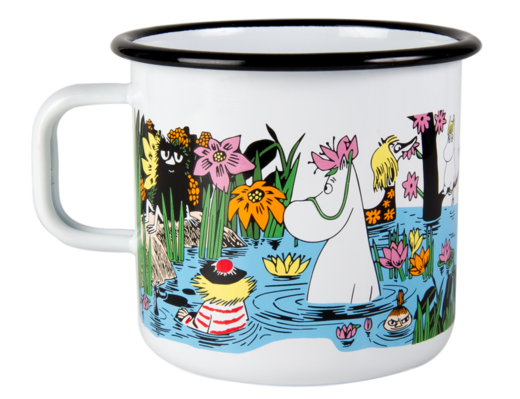 Trip to a pond -enamel mug 8dl